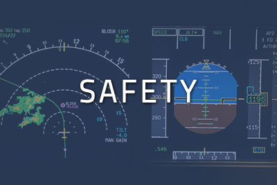 "Photo of a cockpit with ""Safety"" written over it"