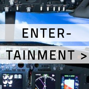 "Flight cockpit simulator with ""Entertainment"" written over it"