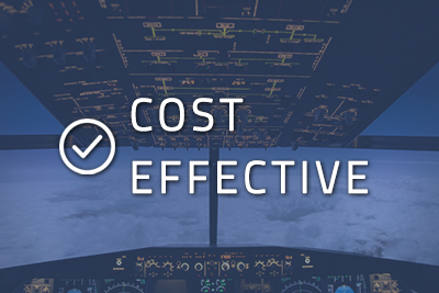 """Photo of a cockpit with """"Cost Effective"""" written over it"""