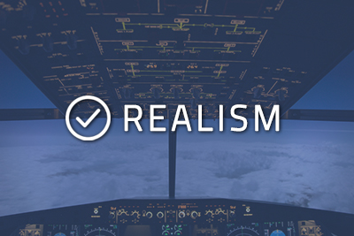 """Photo of a cockpit with """"Realism"""" written over it"""