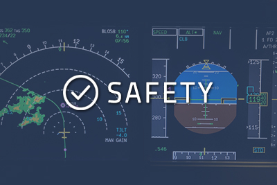 """Photo of a cockpit with """"Safety"""" written over it"""