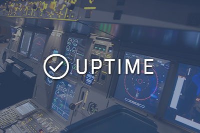 """Photo of a cockpit with """"Uptime"""" written over it"""